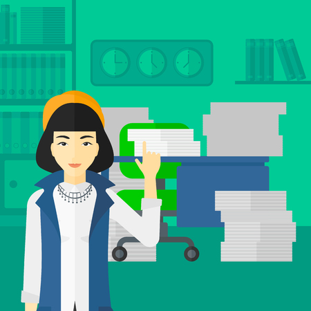 woman pointing up: An asian woman pointing up with her forefinger on the background of office workspace with many files on the table vector flat design illustration. Square layout.