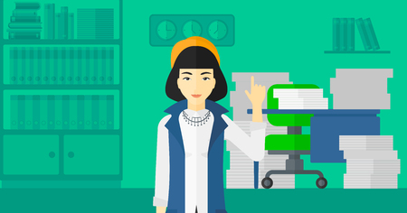 woman pointing up: An asian woman pointing up with her forefinger on the background of office workspace with many files on the table vector flat design illustration. Horizontal layout.