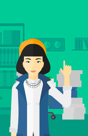 woman pointing up: An asian woman pointing up with her forefinger on the background of office workspace with many files on the table vector flat design illustration. Vertical layout.