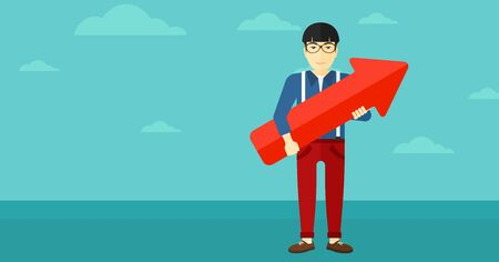 An asian man holding a big arrow in hands on the background of blue sky vector flat design illustration. Horizontal layout.