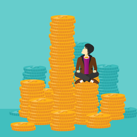asian businessman: An asian businessman sitting on stack of golden coins and looking up to the biggest one on a blue background vector flat design illustration. Square layout.