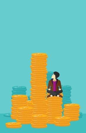 An asian businessman sitting on stack of golden coins and looking up to the biggest one on a blue background vector flat design illustration. Vertical layout. Çizim