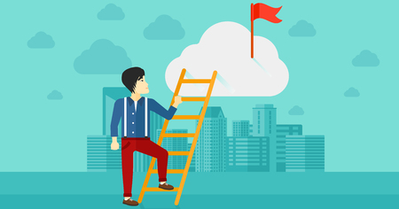stair climber: An asian man holding the ladder to get the red flag on the top of the cloud on the background of modern city vector flat design illustration. Horizontal layout.