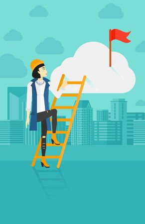 stair climber: An asian woman holding the ladder to get the red flag on the top of the cloud on the background of modern city vector flat design illustration. Vertical layout.