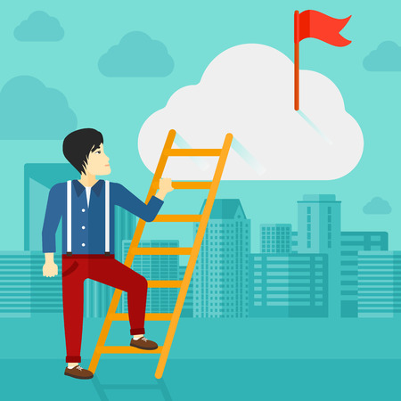 stair climber: An asian man holding the ladder to get the red flag on the top of the cloud on the background of modern city vector flat design illustration. Square layout.