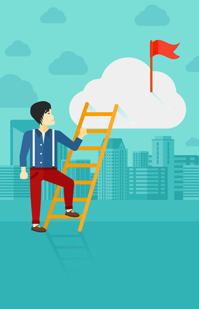 stair climber: An asian  man holding the ladder to get the red flag on the top of the cloud on the background of modern city vector flat design illustration. Vertical layout. Illustration