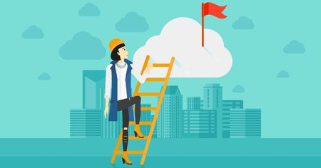 stair climber: An asian woman holding the ladder to get the red flag on the top of the cloud on the background of modern city vector flat design illustration. Horizontal layout.