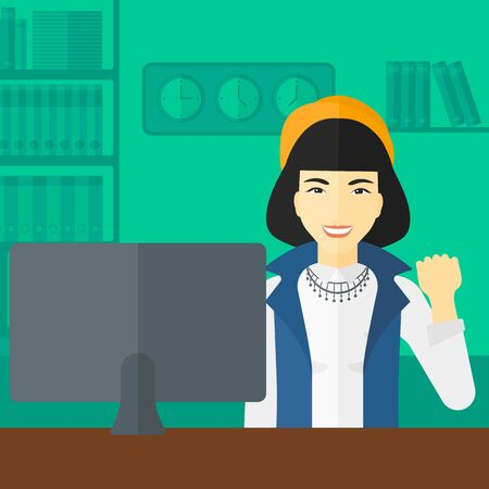 looking at computer: An asian woman expressing great satisfaction while looking at computer monitor on the background of business office vector flat design illustration. Square layout. Illustration