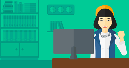 looking at computer: An asian woman expressing great satisfaction while looking at computer monitor on the background of business office vector flat design illustration. Horizontal layout.