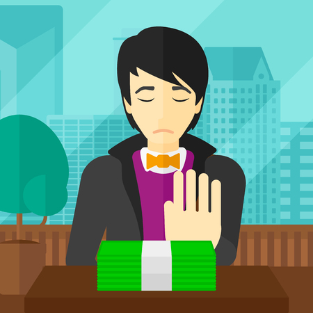 bribe: An asian man moving dollar bills away and refusing to take a bribe on the background of panoramic modern office with city view vector flat design illustration. Square layout. Illustration