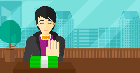 An asian man moving dollar bills away and refusing to take a bribe on the background of panoramic modern office with city view vector flat design illustration. Horizontal layout. Stock Illustratie