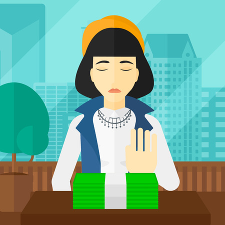 bribe: An asian woman moving dollar bills away and refusing to take a bribe on the background of panoramic modern office with city view vector flat design illustration. Square layout. Illustration