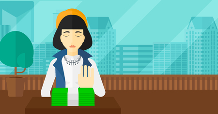 refusing: An asian woman moving dollar bills away and refusing to take a bribe on the background of panoramic modern office with city view vector flat design illustration. Horizontal layout.