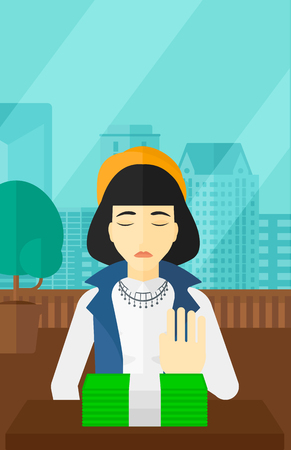 moving office: An asian woman moving dollar bills away and refusing to take a bribe on the background of panoramic modern office with city view vector flat design illustration. Vertical layout.