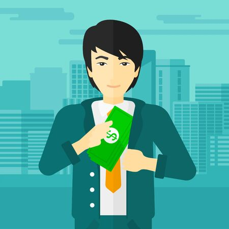 bribery: An asian man putting money in his pocket on the background of modern city vector flat design illustration. Square layout.