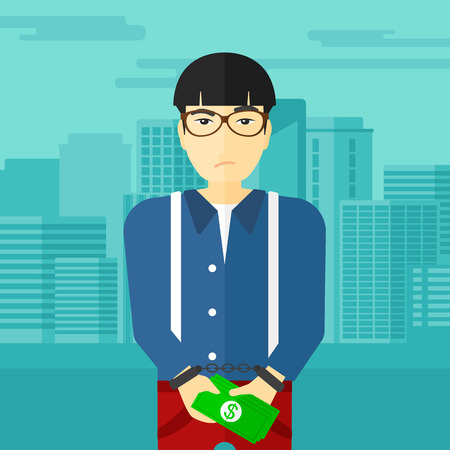 An asian man in handcuffs with money in hands on the background of modern city vector flat design illustration. Square layout.