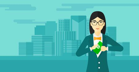 putting money in pocket: An asian woman putting money in her pocket on the background of modern city vector flat design illustration. Horizontal layout. Illustration