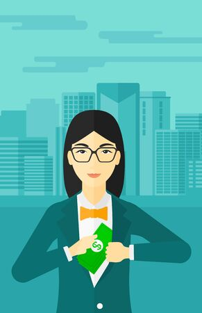 putting money in pocket: An asian woman putting money in her pocket on the background of modern city vector flat design illustration. Vertical layout.