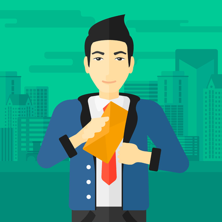 salaries: An asian businessman putting an envelope in his pocket on the background of modern city vector flat design illustration. Square layout. Illustration