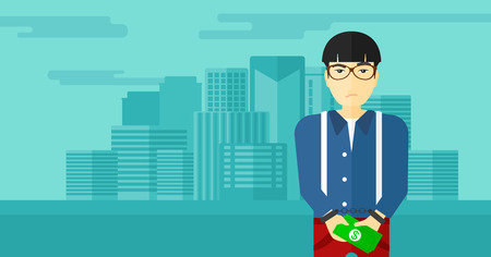 An asian man in handcuffs with money in hands on the background of modern city vector flat design illustration. Horizontal layout.