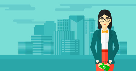 prisoner of the money: An asian business woman in handcuffs with money in hands on the background of modern city vector flat design illustration. Horizontal layout. Illustration
