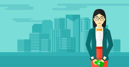 Eine asiatische Geschäftsfrau in Handschellen mit Geld in den Händen auf dem Hintergrund der modernen Stadt Vektor flache Design-Illustration. Horizontal-Layout. Standard-Bild - 54054617