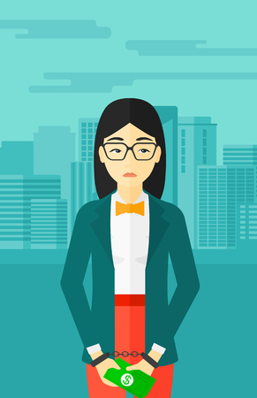 asian business: An asian business woman in handcuffs with money in hands on the background of modern city vector flat design illustration. Vertical layout.