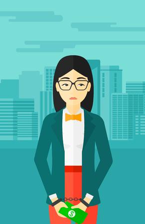 Eine asiatische Geschäftsfrau in Handschellen mit Geld in den Händen auf dem Hintergrund der modernen Stadt Vektor flache Design-Illustration. Vertikal-Layout. Standard-Bild - 54054618