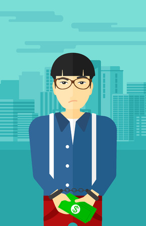 An asian man in handcuffs with money in hands on the background of modern city vector flat design illustration. Vertical layout.