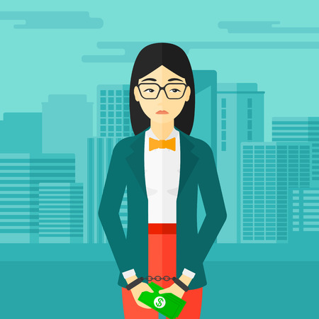 An asian business woman in handcuffs with money in hands on the background of modern city vector flat design illustration. Square layout. Stock Illustratie