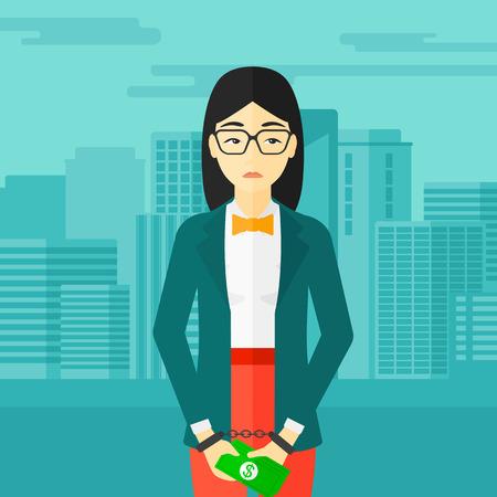 Eine asiatische Geschäftsfrau in Handschellen mit Geld in den Händen auf dem Hintergrund der modernen Stadt Vektor flache Design-Illustration. Platz Layout. Standard-Bild - 54054627