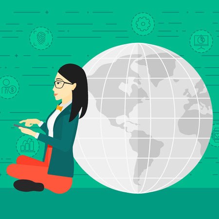 An asian woman sitting near a globe model with a smartphone in hands on a green background with technology and business icons vector flat design illustration. Square layout.