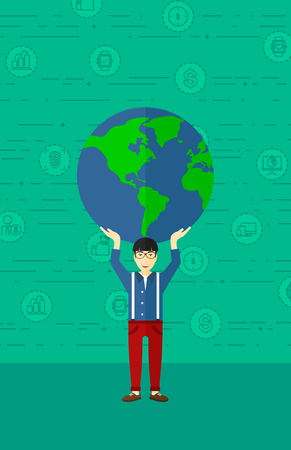 An asian man holding a big globe model in hands over his head on a green background with technology and business icons vector flat design illustration. Vertical layout.