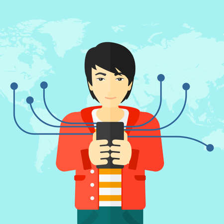 An asian man holding smartphone connected with the whole world on a blue background vector flat design illustration. Square layout. Illustration