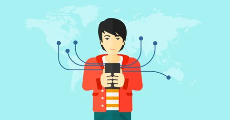 using smart phone: An asian man holding smartphone connected with the whole world on a blue background vector flat design illustration. Horizontal layout.