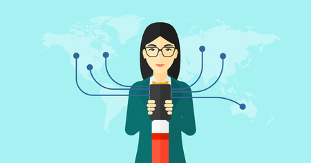 An asian woman holding smartphone connected with the whole world on a blue background vector flat design illustration. Horizontal layout.
