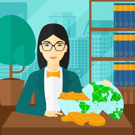 An asian woman sitting at the table with a globe model full of coins on the background of panoramic modern office with city view vector flat design illustration. Square layout.