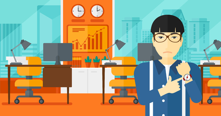 dissatisfied: An asian man pointing at wrist watch on the background of panoramic modern office with city view vector flat design illustration. Horizontal layout.