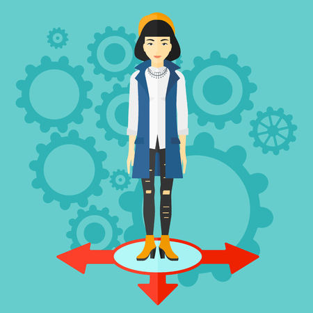 hesitate: An asian woman standing on three alternative ways on a blue background with cogwheels vector flat design illustration. Square layout. Illustration