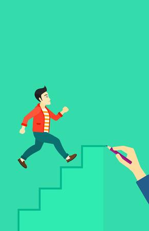 Un homme asiatique courir dans l'escalier dessiné par la main avec pencile sur un fond vecteur vert design plat illustration. Présentation verticale.