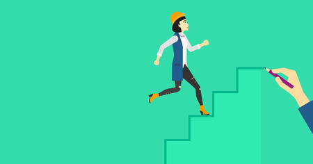 woman stairs: An asian woman running up the stairs drawn by hand with pencile on a green background vector flat design illustration. Horizontal layout.