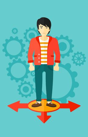 hesitate: An asian man  standing on three alternative ways on a blue background with cogwheels vector flat design illustration. Vertical layout. Illustration