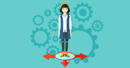 hesitate: An asian woman standing on three alternative ways on a blue background with cogwheels vector flat design illustration. Horizontal layout.