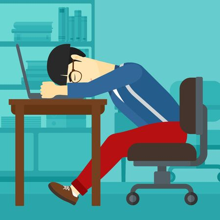 An asian employee sleeping at workplace on laptop keyboard on the background of office vector flat design illustration. Square layout.