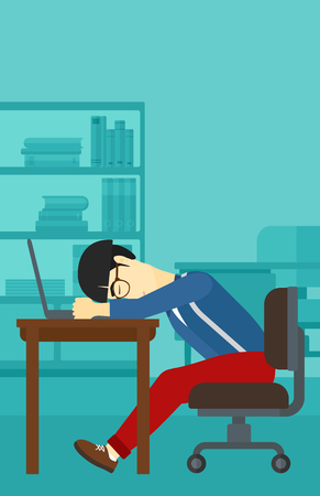 An asian employee sleeping at workplace on laptop keyboard on the background of office vector flat design illustration. Vertical layout.