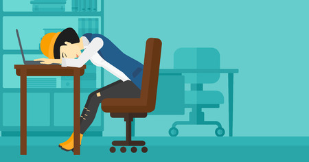 sleepy woman: An asian employee sleeping at workplace on laptop keyboard on the background of office vector flat design illustration. Horizontal layout.