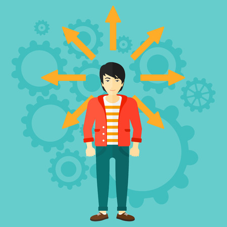 him: An asian man with many arrows around him on a blue background with cogwheels vector flat design illustration. Square layout.