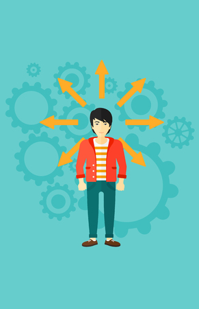 An asian man with many arrows around him on a blue background with cogwheels vector flat design illustration. Vertical layout. Illustration