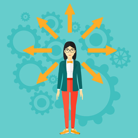 job opportunity: An asian woman with many arrows around her on a blue background with cogwheels vector flat design illustration. Square layout.