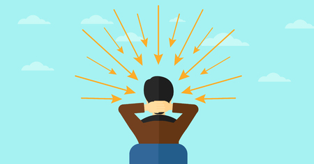 Rear view of an asian sitting man with some arrows poinded to his head on the background of blue sky vector flat design illustration. Horizontal layout. Illustration